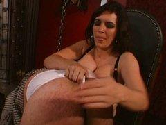 Strict femdom mistress educating her slave