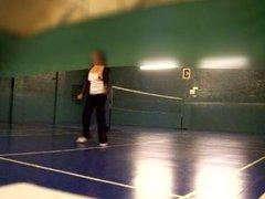 nipple slip playing badminton