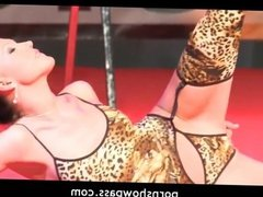 Very hot brunette stripper toys on stage