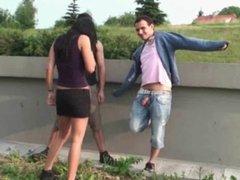 Busty teen girl PUBLIC street gangbang