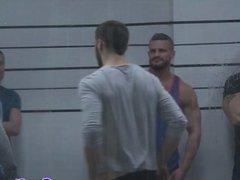 Gaysex orgy hunks blow during mugshot