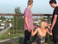 Blonde MILF public gangbang group orgy