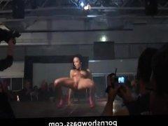 Hot brunette girl live stage show