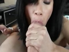 Milf sucks a cock ands swallows his cum