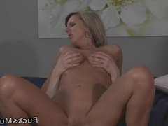 Blonde mature lady gently fucks to orgasm