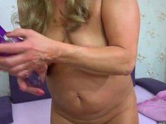 Old mature doing striptease and masturbating