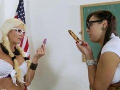 Nikita's classroom tease leads to lesbian sex