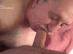 Hairy Silverdaddy Grandpa Sucking Uncut Cock