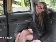 Tattooed busty amateur bangs in taxi