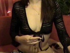 Skinny brunette masturbates on cam