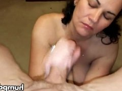 Busty MILF Gives HJ And Eats Cum