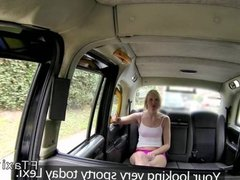 Tight British blonde amateur in fake taxi