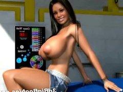 3D Car Girl Shows her Huge Boobs!