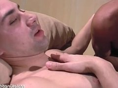 milky guy sucking massive cock