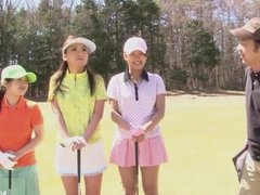 Cute Asian girls play a game of strip golf