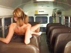 Naughty teen Jessie fucks on the school bus