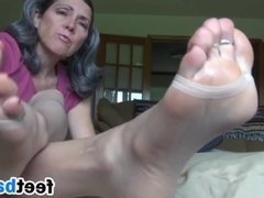 Granny Teases Her Feet Close Up
