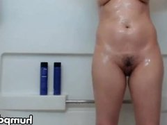 Sexy babe takes hot shower
