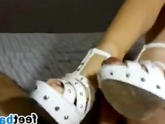 Footjob With Shoes On POV
