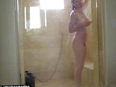 Blonde milf Bridgitte spied in the shower