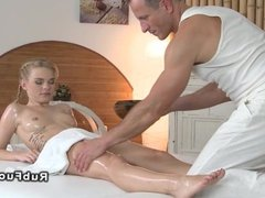 Blonde learning for masseuse massage creampie