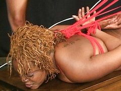 Ebony handled by a bondage queen