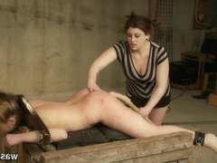 Female slave brought to orgasm and flogged