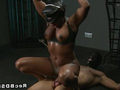 Masked sub fucks mistress