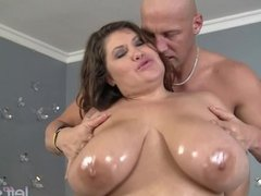 Giant breasted Kacey Parker is filled with di