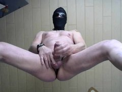 masked cumshot from my bondage dick