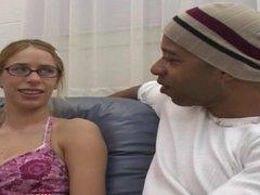 Cute Nerdy Girl w/Nice Tits Takes the Blackzi