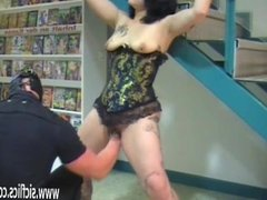 Extreme amateur fisted in bondage at an adult