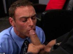 Naughty gays lick and fuck asses at work