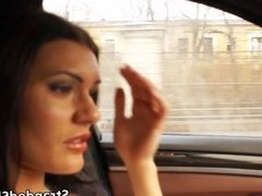 Kitana gives the driver an incredible bj