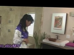 Stunning asian babe Asa Akira hot shower