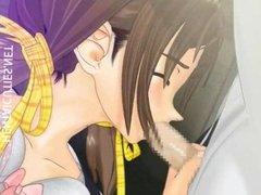 Horny 3D hentai maid sucking dick