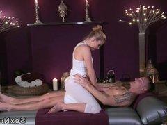 Blonde masseuse fucks guy on a mattress