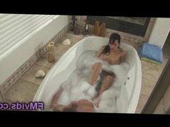 Asa Akira soapy stroking cock