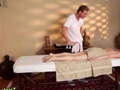 Tattooed babe massaged