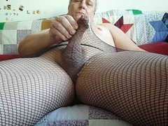 Fishnet pantyhose masturbation