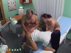Doctor fucks cleaning lady and nurse