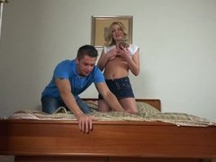 Russian babe tries hard cock in her ass
