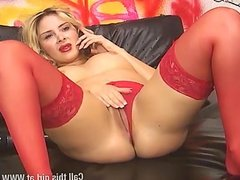 Stevie Lou in hot red underwear