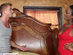 Ebony gf in red dress Layton Benton fucking