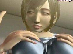 Sensual anime whore giving head job