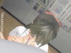 Hot 3D hentai schoolgirl gives titjob