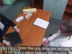 Blonde saleswoman fucked in fake hospital