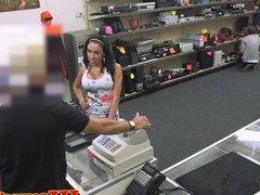Latina pawnshop customer receives a facial