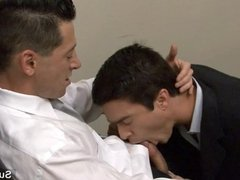 Horny gay workers fucking in the office
