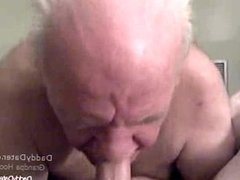 Horny Grandpa loves sucking Uncut Cock